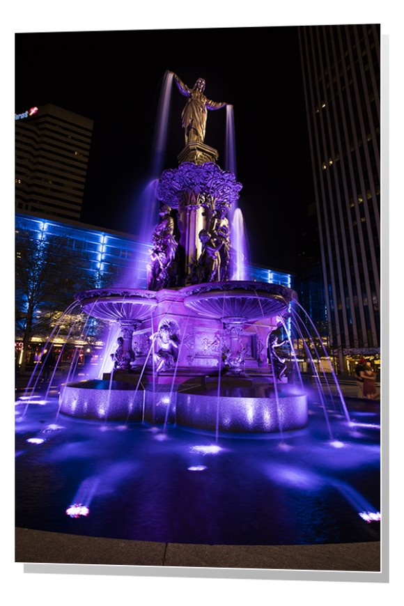 The Tyler Davidson Fountain at night