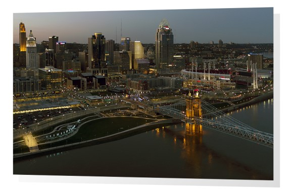 Cincinnati skyline and riverfront at sunset
