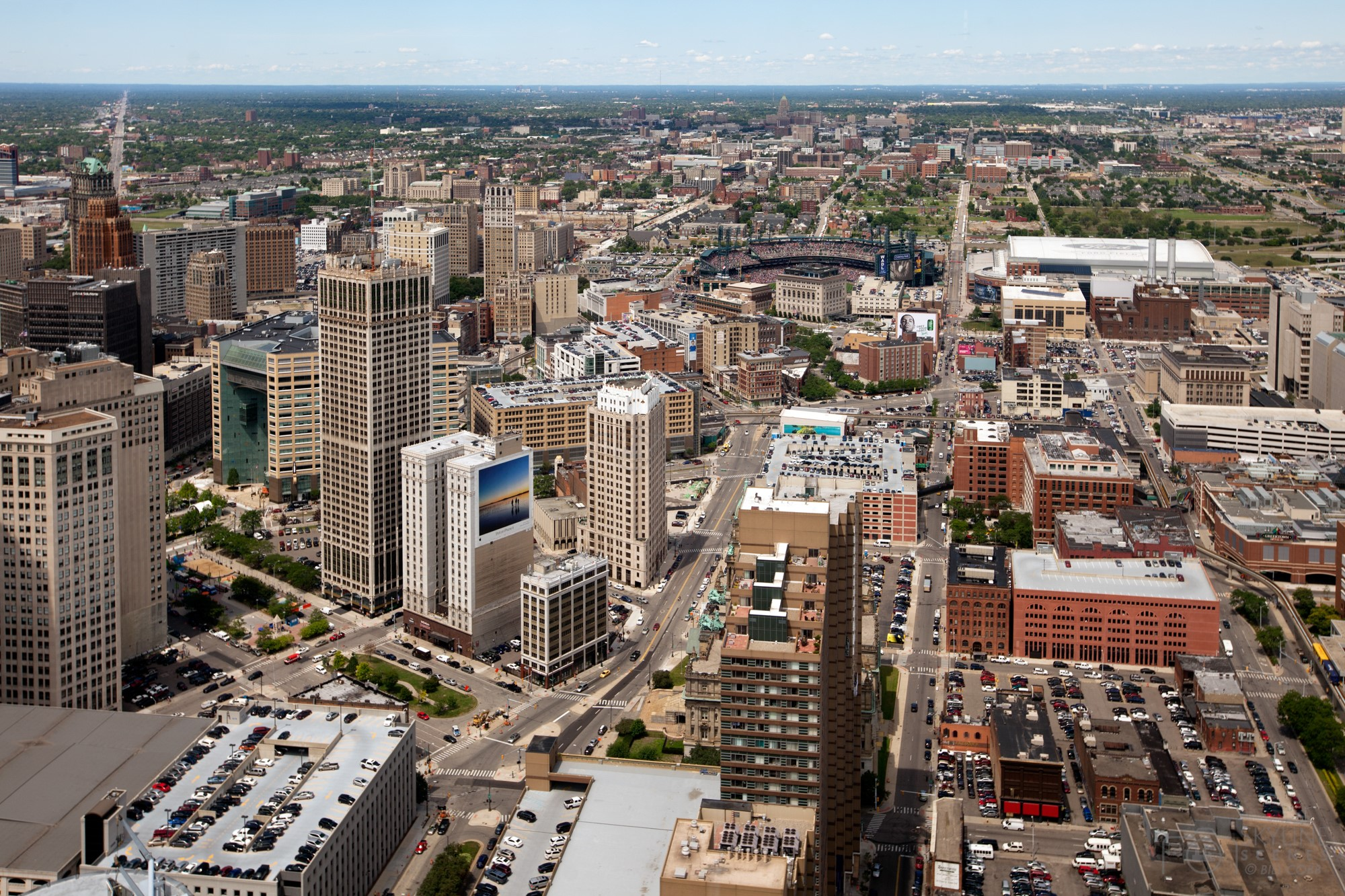 Aerial of Detroit, Michigan