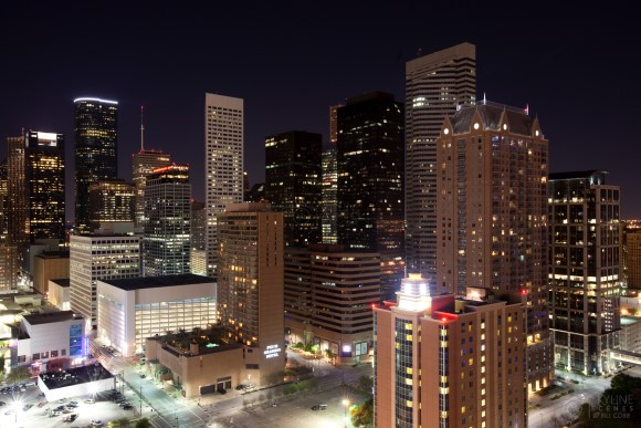 Central Houston at night