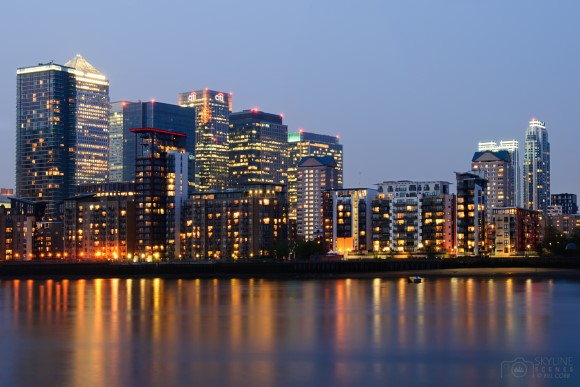 Skyline of Canary Wharf in London