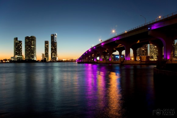 Macarthur Causeway and norhtern Downtown Miami