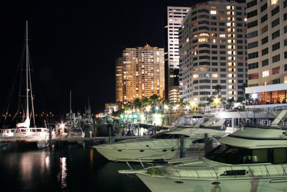 Marina in Brickell district of Miami at night