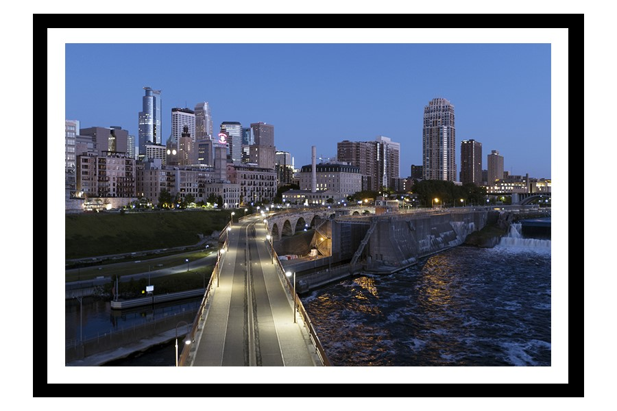 Stone Arch Bridge and Skyline of Minneapolis