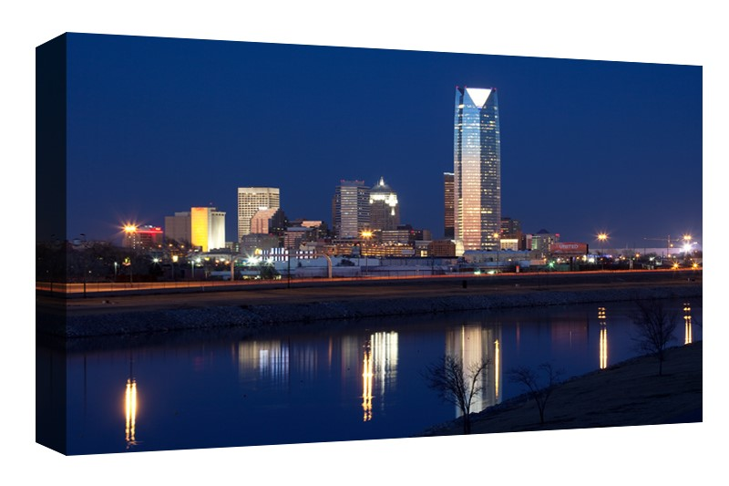 Oklahoma City skyline at Dusk along the riverfront at dusk