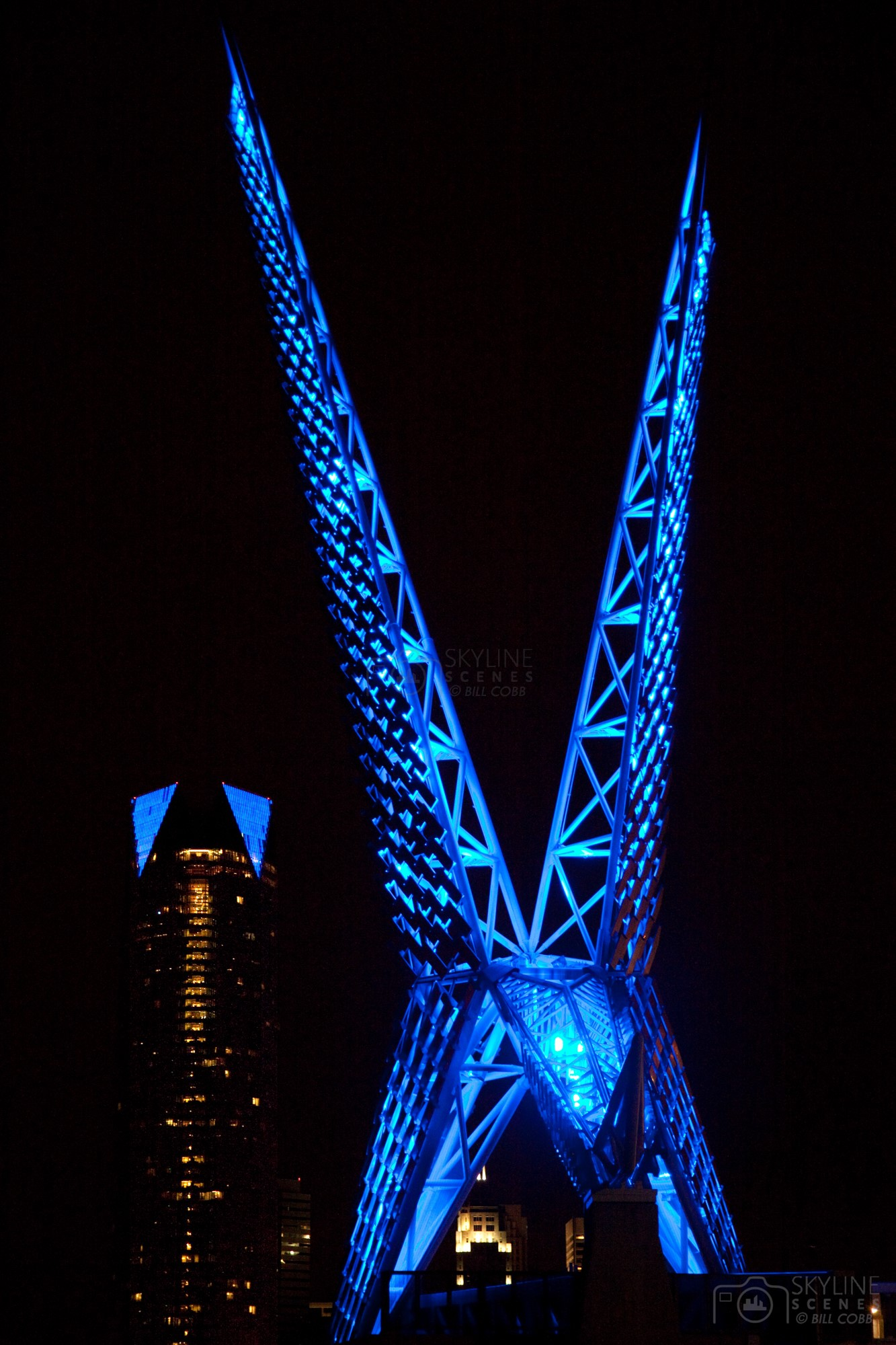 OKC illuminated SkyDance Bridge