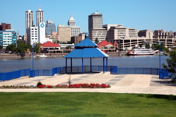 Peoria, Illinois Skyline from across river
