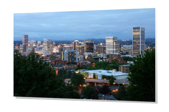 Downtown Portland Skyline at dusk from West Hills