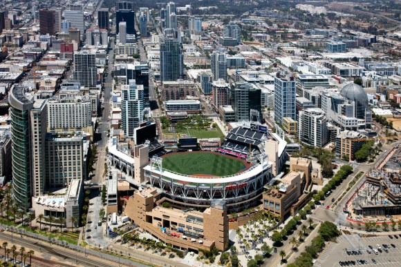 Aerial of Petco Park, Downtown San Diego, California