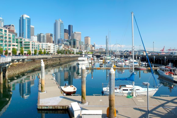 Seattle pier 66 marina and skyline