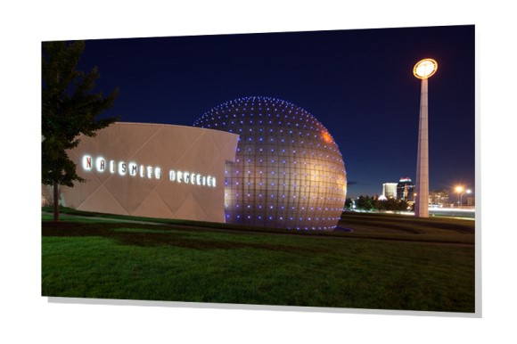 Naismith Memorial Basketball Hall of Fame at dusk in Springfield, Massachusetts