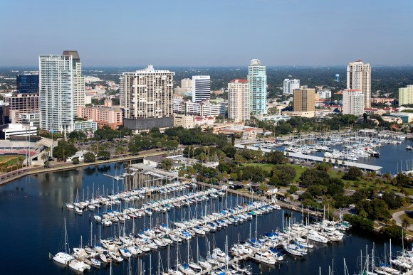 St Petersburg Skyline and waterfront in Florida
