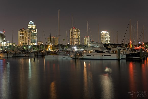 St Pete Municipal Marina and skyline at night