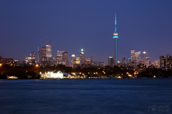 Toronto at dusk from Humber Bay Shores