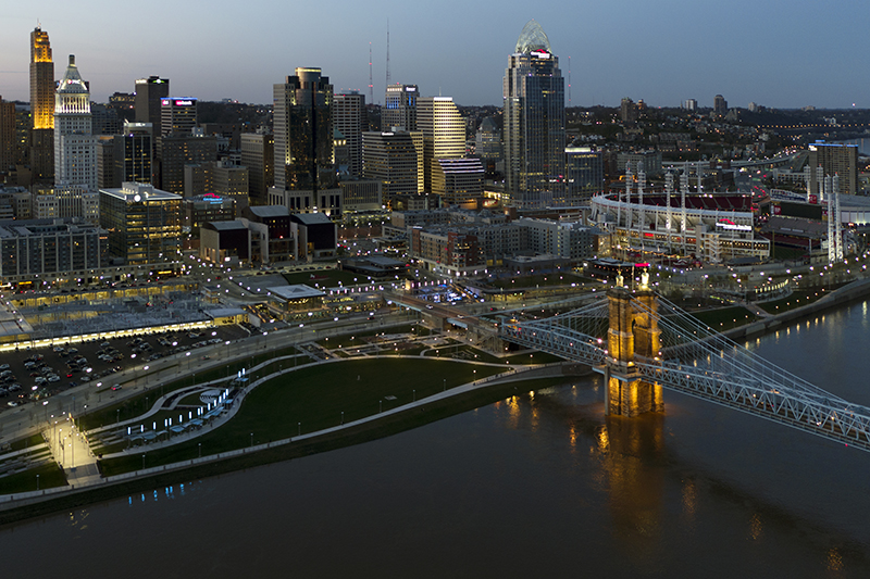 Cincinnati skyline from dji inspire 2